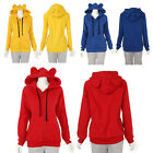 Girl's  Casual Big Hat Hoody Cute Bear Ear Zipper Hooded Coat Jacket Multicolor