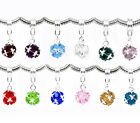 Wholesale Lots Mixed Birthstone Dangle Beads Fit Charm Bracelet 26mmx10mm