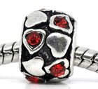 Wholesale Lots Red Rhinestone Heart Beads Fit Charm Bracelet 9x6mm