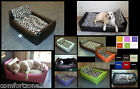 ZIPPY DIVAN DOG BED FAUX LEATHER & CAT PRINT - 4 SIZES 10 COLOURS - WASH & WIPE