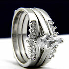 2 PC 0.95 CT Marquise Cut CZ Solitaire Accents Women's Wedding Bridal Band Ring