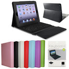 For Apple iPad 2 3 4 PU Leather Bluetooth Wireless Keyboard Case Flip With Stand
