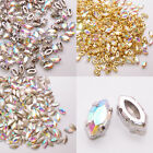 48pcs Sew On Rhinestones Glass 4200 Navette 5x10mm Clear AB Beads Fancy Crystal