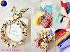 Women Ladies Girls Cute Wire Bunny Ear adjustable bow scarf Hair head band Wrap