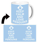 ❤ PERSONALISED KEEP CALM AND LOVE PENGUINS mug cup with any text any colour  ❤