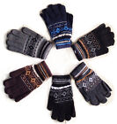 BLACK BROWN GREY SNOWFLAKE MENS BOYS WINTER WARM THERMAL KNITTED MAGIC GLOVES