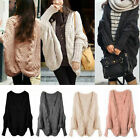Womens Lady Knitted Cardigan Batwing Outwear Casual Loose Sweater Coat Tops UE