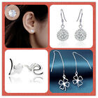 925 Solid Sterling Silver Earrings Stamped Thread cloves, Love,Ball Drop,classic