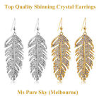 Top Quality Fashionable Crystal LEAF Feather Earring 18K Gold Plated 2 colors