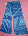 "Royal Blue SATIN FLARES 70s trousers glam flared disco pants 28"" 34"" fancy dress"