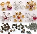 300x Silver Gold Plated Bell Filigree Bead Caps Jewellery Craft Findings Beading