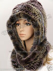 100%Real Genuine Knitted Rex Rabbit Fur Hat Scarf Cap Women Warm Winter Lady New