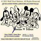 Minnie Mickey Donald Pluto Mouse Personalised Kids Child Wall Sticker Disney 1a