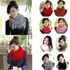 New Women Warm Infinity 2 Circle Cable Knitted Cowl Neck Long Tassel Scarf Shawl