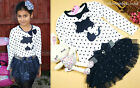 Girls Polka Dot Silk Tutu Skirt Suit Embellished Party Dress Bow Outfit Princess