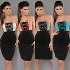 Womens 4 Colour & Black Bandeau Peplum Stretchy Top with Lace Panel 10 12 14