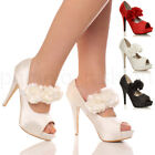 WOMENS LADIES EVENING WEDDING PROM HIGH HEEL PLATFORM PEEP TOE COURT SHOES SIZE