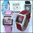 Children hello kitty watch 5 colors leather strap quartz wristwatch -  UK Seller