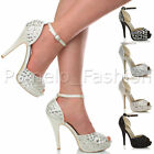WOMENS LADIES HIGH HEEL PLATFORM PEEPTOE GEM ANKLE STRAP SANDALS SHOES SIZE