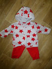 BNWT BABY BOYS SET HOODED JACKET & PANTS RED STAR PRINT SIZES 000  000  00 NEW