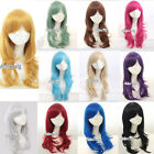 12 Colors Long Curly Stylish Women Girl Fashion Anime Cosplay Hair Wig+ Wig Cap