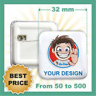CUSTOM 32 mm SQUARE BADGES , YOUR TEXT OR IMAGE, PINS / BUTTON, BEST PRICE EVER!