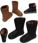 Womens Ladies Girl Mid Calf Flat Faux Fur Lined Boots Warm Winter Shoes 3-7 Size