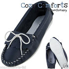 Ladies / Womens Leather Lined Navy & White Moccasins with PVC Sole, British Made