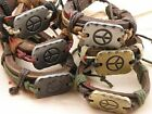 Peace Symbol Surfer Bracelet Synthetic Leather One Size Fits All