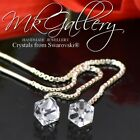 Sterling Silver Chain Stud Earrings made with Swarovski Elements CUBE 4mm/ 6mm