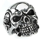 STAINLESS STEEL SKULL RING WITH SKELETONS ON THE SIDES IN DIFFERENT SIZES R43