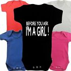 I'M a Girl Funny Slogan Boys Girls Baby grow Vest Body Suit Romper Newborn Gift