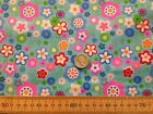 FUNKY FLOWER POWER HIPPIE RETRO - BLUE BACK - SMALL FLOWERS - POLYCOTTON FABRIC