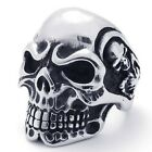 USA Seller Men's Silver Stainless Steel Skull Harley Biker Ring Size 7-15 SR51