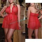 XL XXL 3XL  Sexy Red Sheer Lingerie Babydoll Sleep Dress Outfit Plus Size