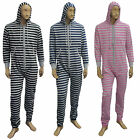 Mens Designer Onesie Stripe Print Hooded All In One Jumpsuit Playsuit Onesies