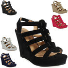 WOMENS LADIES STRAPPY ELASTIC SLINGBACK HIGH HEELS WEDGES PLATFORM SHOES SIZE