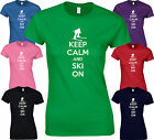 KEEP CALM AND SKI ON - Funny BIRTHDAY K2 Skis Boots Snow LADY FIT FITTED T SHIRT