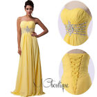 Yellow Strapless Crystal Chiffon Prom Bridesmaid Wedding Maxi Dress Size AU6-20