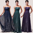 Sparkly Sequins Strapless Chiffon Prom Bridesmaid Wedding Maxi Dress Size AU6-20