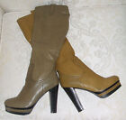 BNWB SIZE 4 BEIGE CAMEL KHAKI BLACK FAUX LEATHER KNEE HIGH PLATFORM BOOTS SHOES