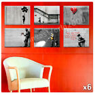 LARGE Canvas Banksy Set of 6 lot waiting girl hope baloon graffiti reproduction