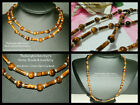 8mm ROUND & TUBE SHAPED TIGERS EYE BEADED STRAND/STRING NECKLACE ~ GOLD ~ SILVER