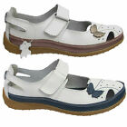 WOMENS LADIES LEATHER VELCRO GIRLS MARY JANE STYLE FLAT SHOES SANDALS SIZE 3-8