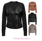 NEW LADIES BIKER JACKET CROP PU FAUX LEATHER WOMAN JACKET 8 TO 16