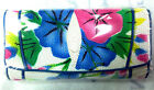 NEW 100% GENUINE STINGRAY LEATHER CLUTCH WALLET,TRI-FOLD MULTI COLOUR FLOWER