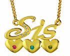 Gift for Sister - SIS Necklace 18K Gold Plated Heart Neklace Swarovski Elements