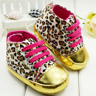 Baby Toddler Leopard Print Crib Shoes Soft Sole 3-18 Months Ribbon Girl