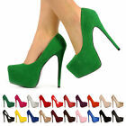 WOMENS LADIES CONCEALED PLATFORM HIGH STILETTO HEEL PUMPS COURT SHOES SIZE 3-8