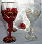 Heart Motif Wine Goblets Glasses Wedding Engagement Valentine Anniversary Gift